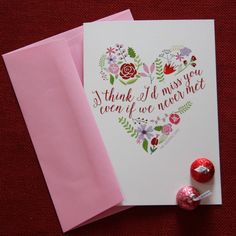 I think I'd Miss You even if We Never Met // Valentine's Day Greeting Card // KateOGroup