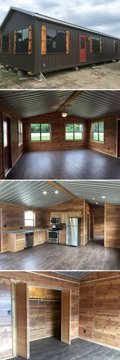 The Blue Water by Portable Buildings of Brenham (828 Sq Ft) Pole Barn Homes, Pole Barn House Plans, Cabin Plans, Garage Plans, Small House Plans, Portable Building, Building Your Own Home, Building A Tiny House, Tiny House Cabin