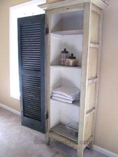 Vintage Home DIY Vintage Shutter Cupboard/Cabinet Vintage Shutters, Diy Shutters, Repurposed Shutters, Furniture Projects, Furniture Makeover, Home Furniture, Diy Projects, Chair Makeover, Furniture Refinishing