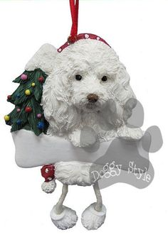 Dangling Leg Maltipoo Dog Christmas Ornament http://doggystylegifts.com/products/dangling-leg-maltipoo-dog-christmas-ornament