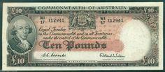 AUSTRALIA R62 PREDECIMAL NOTE £10 COMMONWEALTH BANK VF/aEF