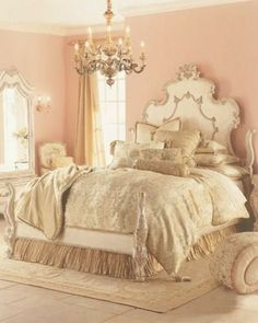 Over-the-top bedroom! Gorgeous! This would be great for a single girl or a little girl. I don't see a straight man agreeing to a pale pink bedroom.