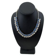 Blue and Clear Quartz Sterling Silver Necklace Adjustable .925