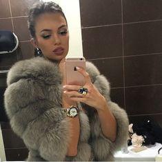 brunette, luxury, and coat image
