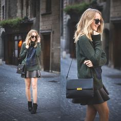 Get this look: http://lb.nu/look/6690146  More looks by TIPHAINE MARIE: http://lb.nu/tiphainemarie  Items in this look:  Bag, Skirt, Sweater, Boots   #elegant #preppy #vintage