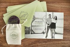 Oh So Beautiful Paper: Kelly + John's Modern Wedding Invitations + Save the Dates