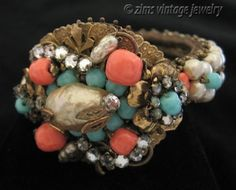 Vintage Miriam Haskell Unsigned Coral Pearl Turquoise Brass Rhinestone Bracelet | eBay