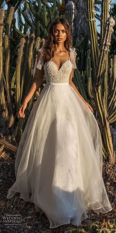 asaf dadush 2018 bridal spaghetti strap sweetheart neckline heavily embellished bodice romantic a line wedding dress open back sweep train (3) mv #weddingdress