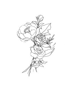 bouquet drawing rose flowers line tattoos flower simple tattoo mini drawings sketches drawn painting hand quotes draw plant inspiration miniature