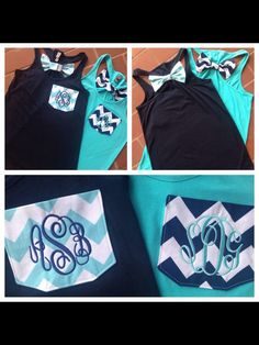 Preppy Monogrammed Chevron Pocket Racerback Bow T-shirt. Great for summer. Matching best friend shirts. www.tinytulip.com