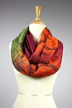 Fall Infinity Scarf / floral scarf / women scarves / Ombre , fallen leaves
