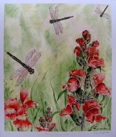 Dragonflies and Snapdragons