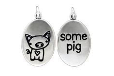 Sterling Silver Piglet Necklace  Pig Pendant  by marmar on Etsy