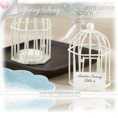 """Spring Song"" Birdcage Tealight/Place Card Holder 14070IV - 75% OFF - http://www.warmimpressions.com/WEDDING_FAVORS/Spring-Song-Birdcage-Tealight-Place-Card-Holder-Favors-kate-aspen-14070IV.html  LARGE 2"