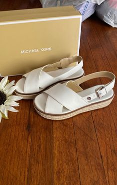 New still in box size 8 this are leather Michael Kors Sandals, Espadrilles, Box, Leather, Shoes, Fashion, Espadrilles Outfit, Moda, Snare Drum