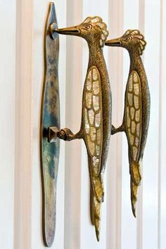 door hardware with wood peckers? Funny if these are the doorknockers!