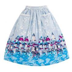 Contessa Blue Venice Border Skirt | Vintage Style Skirts - Lindy Bop