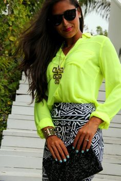 Neon + black  white pencil skirt. Love this outfit!