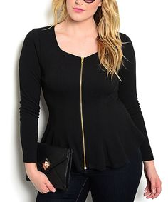 Look what I found on #zulily! Black Zip-Up Jacket - Plus by Buy in America #zulilyfinds