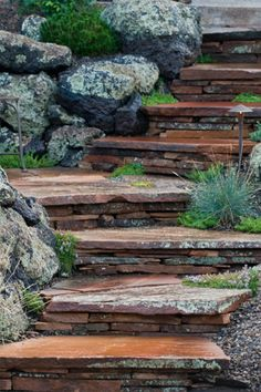 Awesome Rock Garden Retaining Wall Ideas For Backyard and Side Yard - My Dream House Stone Landscaping, Landscaping Retaining Walls, Hillside Landscaping, Outdoor Landscaping, Garden Retaining Walls, Retaining Wall Steps, Landscaping Company, Landscaping Ideas, Landscape Stairs
