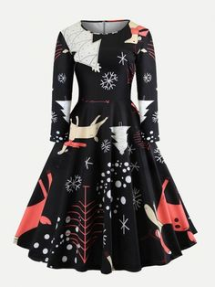 b187e139e74 Long Sleeve Pullover Cartoon Casual A-Line Vintage Elegant Party Autumn  Print Halloween Dress