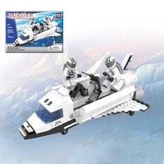 The BricTek Space Team Space Shuttle is a 180 piece, Lego compatible construction set.  The construction set builds a space shuttle complete with 2 astronauts and a satellite.  The construction set is recommended for ages 6 and up.