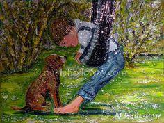 """Puppy Love"" by Nuala Holloway - Oil on Board #Puppy #Boy #OilPainting"