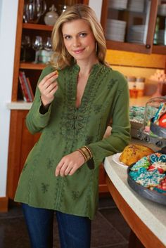 Shanghai Tunic - Embroidered long sleeve Tunic in a crisp, mossy kelly green with Mandarin collar & large button loop front closure. Very flattering with a fitted bodice that hits along the perfect spot in the hips. It appears to have some lovely embroidery details in a scattered design pattern.