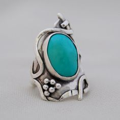 Silver and Turquoise BoHo Ring by cyndiesmithdesigns