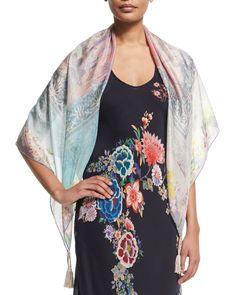 f1fd7d007e3b6 Ruru Floral-Print Silk Georgette Square Scarf