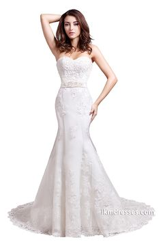 Women´s Lace Beaded Mermaid Bridal Gowns Wedding Dress http://www.ikmdresses.com/Womens-Lace-Beaded-Mermaid-Bridal-Gowns-Wedding-Dress-p89830