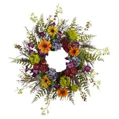 Welcome guests to your home in natural style with this lovely wreath, featuring a collection of faux wildflowers.    Product: ...
