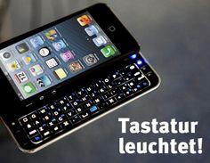 Die Tasten dieser coolen iPhone 5 Bluetooth Tastatur Hülle leuchten im Dunkeln!