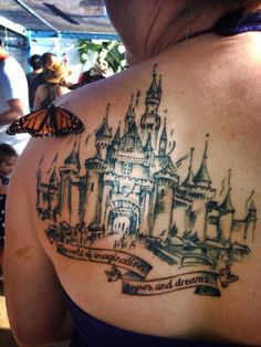 Disney castle tattoo <3 it was inspired by one if the original blueprint sketches of sleeping beauty's castle! Done by Valerie at Blue Buddha Tattoo in Las Vegas, NV :) I'm absolutely in love with it!!!!
