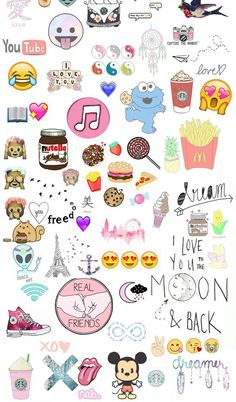alien, all stars, book, chips, cookies, dreamer, emoji, emoticons, food, freedom, friends, hamburger, heart, icecream, infinity, lau, london, love, mc donalds, mickey, photo, pineapple, pooh, rain, shoes, strawberries, tumblr, wallpaper, xo, yang