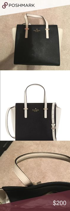 """BRAND NEW Kate Spade Small Hayden Bag 💁🏼kate spade new york bicolor saffiano leather black/pebble--have to sell because I got 2 for gifts😬 Detachable shoulder strap 13.1""""H x 9.2""""W x 4.7""""D.👜👜. NWT kate spade Bags Shoulder Bags"""