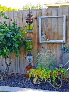 Garden Design Make a unique piece of garden art, a glass garden totem, with upcycled vintage lamp globes! - Make a unique piece of garden art, a glass garden totem, with upcycled vintage lamp globes!