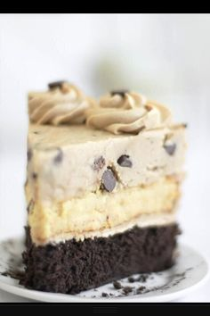 Chocolate chip cookie dough devils food cake cheesecake