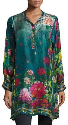 Johnny Was Heaven Long Floral-Print Silk Tunic Plus Size #plus #tops #women