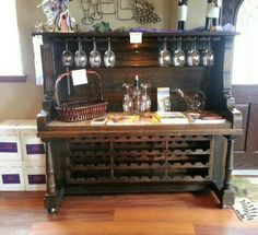 Turn an old piano into a wine station/rack