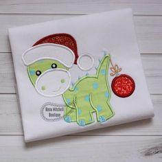 Christmas Dino applique - Beau Mitchell Boutique