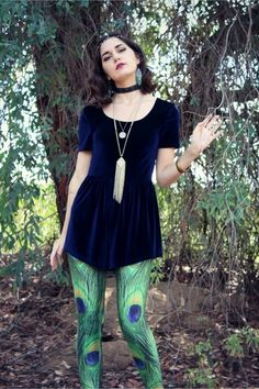 Discover this look wearing Velvet Romper MinkPink Rompers, Peacock Leggings, Head Chain Accessories - Have One On Me by Lexinfleurs styled for Bohemian, Other in the Fall Patterned Tights, Peacock, Bohemian, Rompers, Velvet, Leggings, How To Wear, Style, Fashion