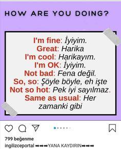 English Phrases, English Words, English Lessons, English Grammar, Learn English, English Language, Turkish Lessons, Learn Turkish Language, Language Quotes