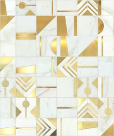 Gold and white tile