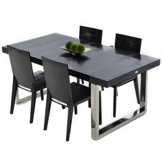 Modrest A X Skyline Modern Black Crocodile Lacquer Dining Table