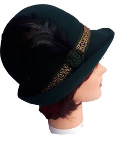Vintage Lembert Bavarian Alpine Tyrolian Hunting Green Womens Felt Hat, Wool Felt, Hunting, Feather, Braids, Ribbon, Hats, Green, Vintage