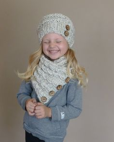 Hand Knit Toddler Slouchy Beehive Hat and Cabled Neckwarmer Set in Neutral Wheat or YOUR COLOR CHOICE with Seven Natural Coconut Buttons https://www.etsy.com/listing/198754506/hand-knit-toddler-slouchy-beehive-hat