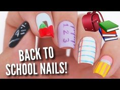 5 Back To School DIY Easy Nail Art Designs - YouTube