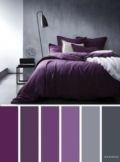 Grey and purple colors/ediblefleurs/debra ponte dusty-smokey deep purple Bedroom ideas Grey and purple color inspiration,Grey and purple color schemes Purple Color Schemes, Color Schemes Colour Palettes, Purple Palette, Gray Bedroom Color Schemes, Color Palette Gray, Purple Color Combinations, Apartment Color Schemes, Color Schemes Design, Bedroom Colour Palette
