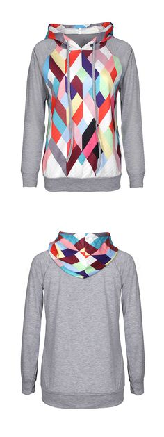 HO! Baby,have a look! Diamond Printed Hooded Sweatshirt-ONLY $26.99 is especially for you. Come to WEALFEEL.COM for more cute pieces!